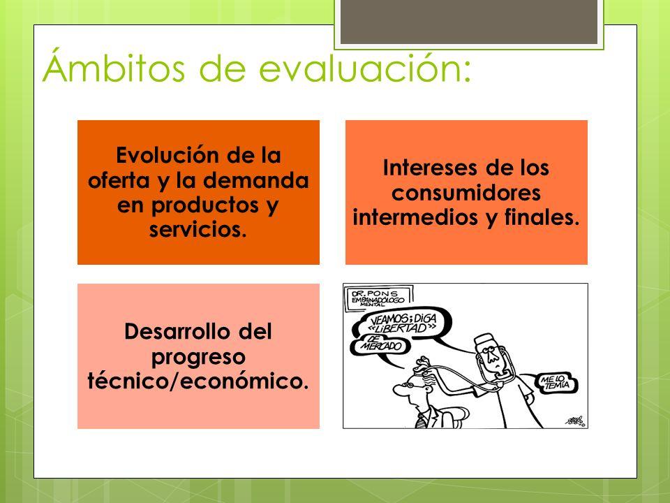 Ámbitos de evaluación: