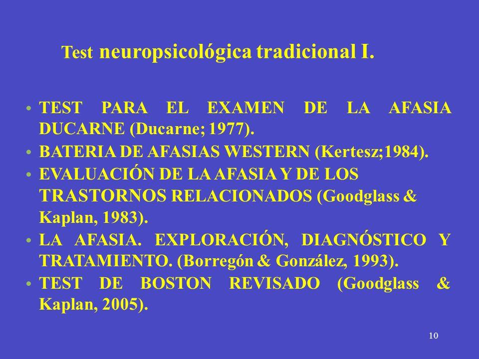 Test neuropsicológica tradicional I.