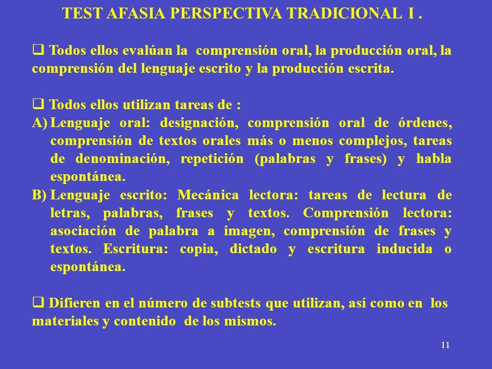 TEST AFASIA PERSPECTIVA TRADICIONAL I .