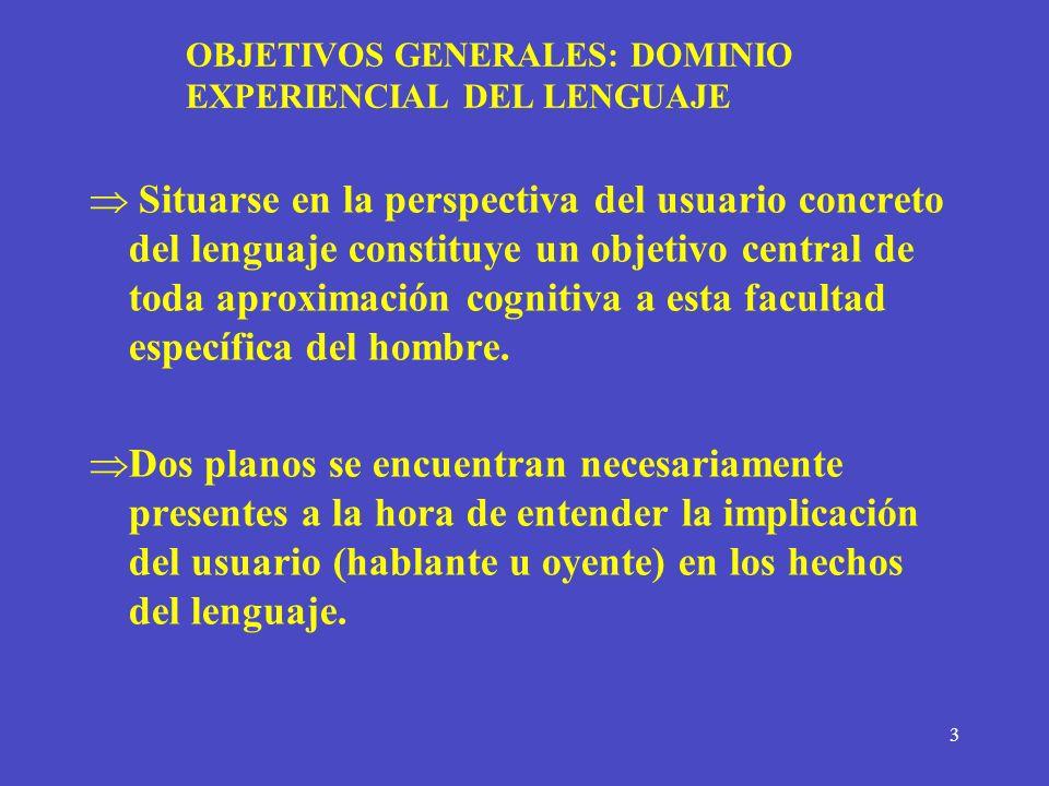 OBJETIVOS GENERALES: DOMINIO EXPERIENCIAL DEL LENGUAJE