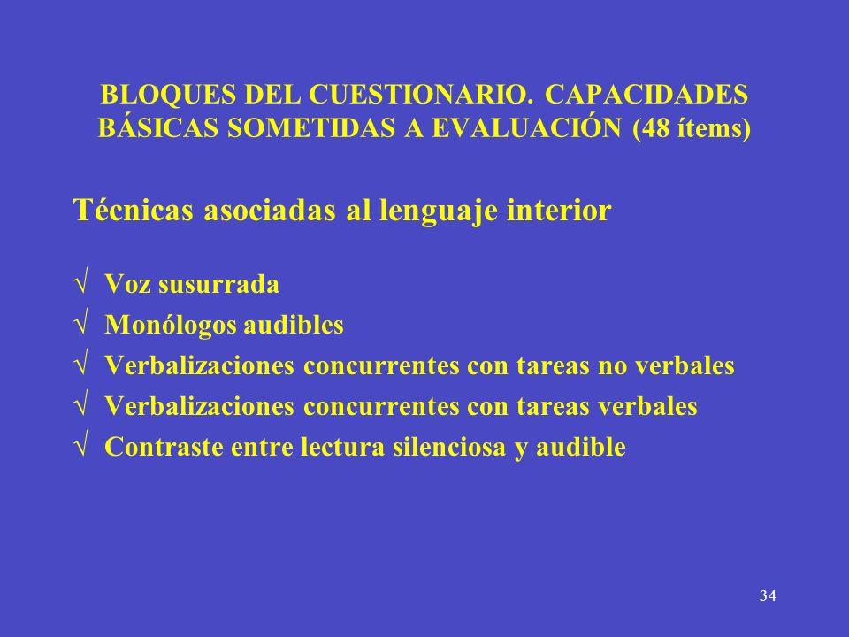 Técnicas asociadas al lenguaje interior