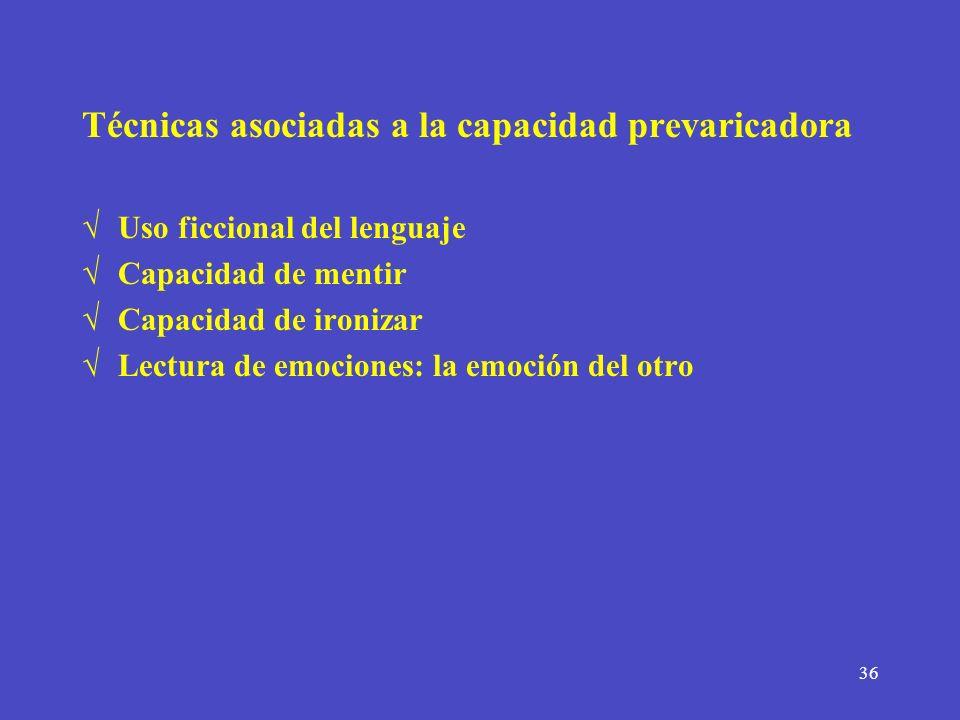 Técnicas asociadas a la capacidad prevaricadora
