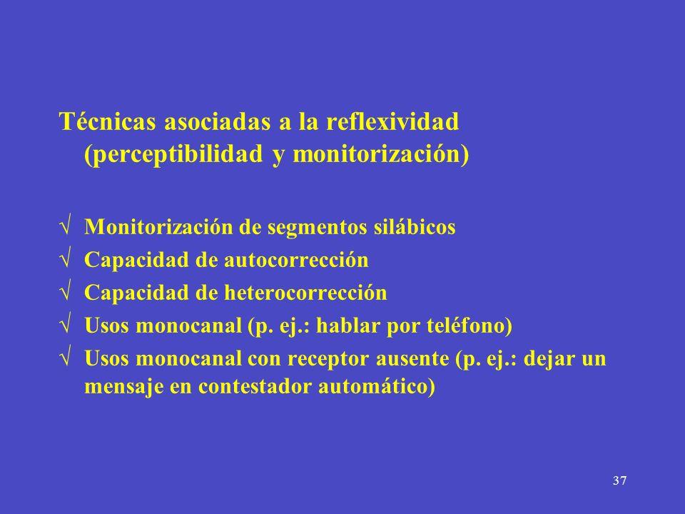 Técnicas asociadas a la reflexividad (perceptibilidad y monitorización)
