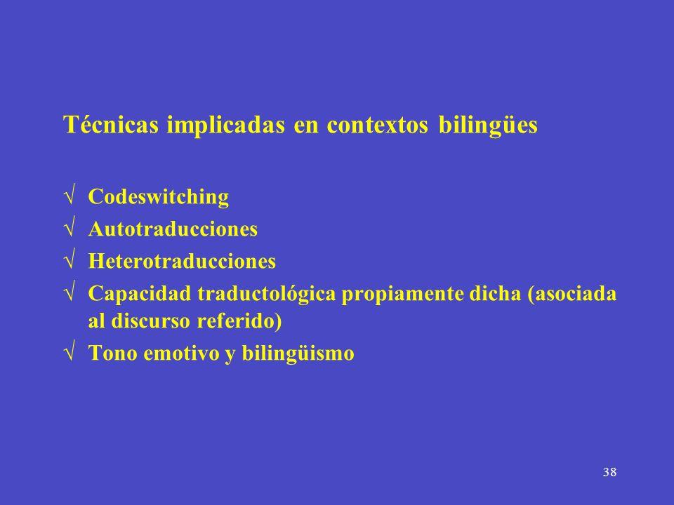 Técnicas implicadas en contextos bilingües