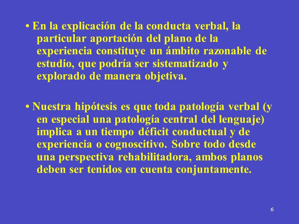 • En la explicación de la conducta verbal, la particular aportación del plano de la experiencia constituye un ámbito razonable de estudio, que podría ser sistematizado y explorado de manera objetiva.