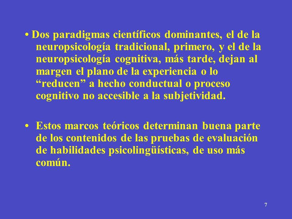 • Dos paradigmas científicos dominantes, el de la neuropsicología tradicional, primero, y el de la neuropsicología cognitiva, más tarde, dejan al margen el plano de la experiencia o lo reducen a hecho conductual o proceso cognitivo no accesible a la subjetividad.