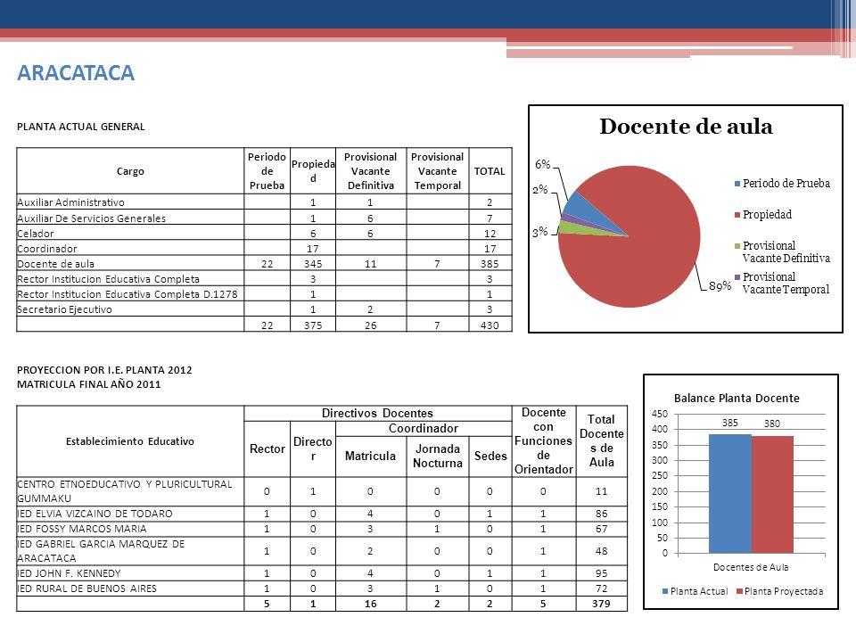 ARACATACA PLANTA ACTUAL GENERAL Cargo Periodo de Prueba Propiedad