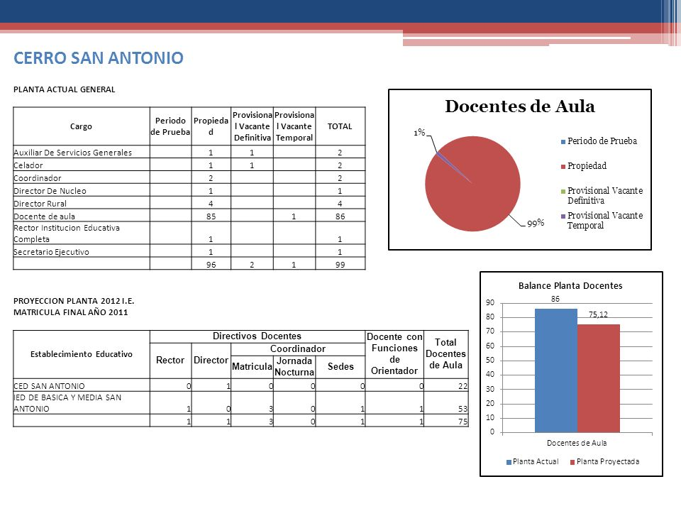 CERRO SAN ANTONIO PLANTA ACTUAL GENERAL Cargo Periodo de Prueba