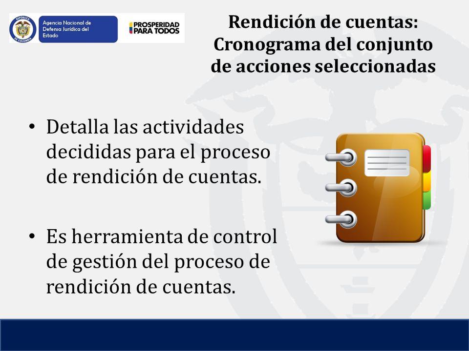 Rendición de cuentas: Cronograma del conjunto de acciones seleccionadas