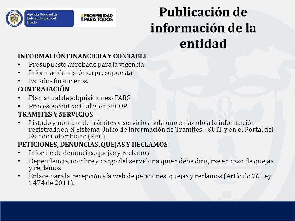 Publicación de información de la entidad