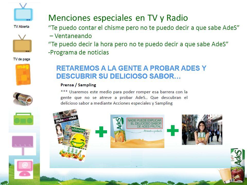 Menciones especiales en TV y Radio