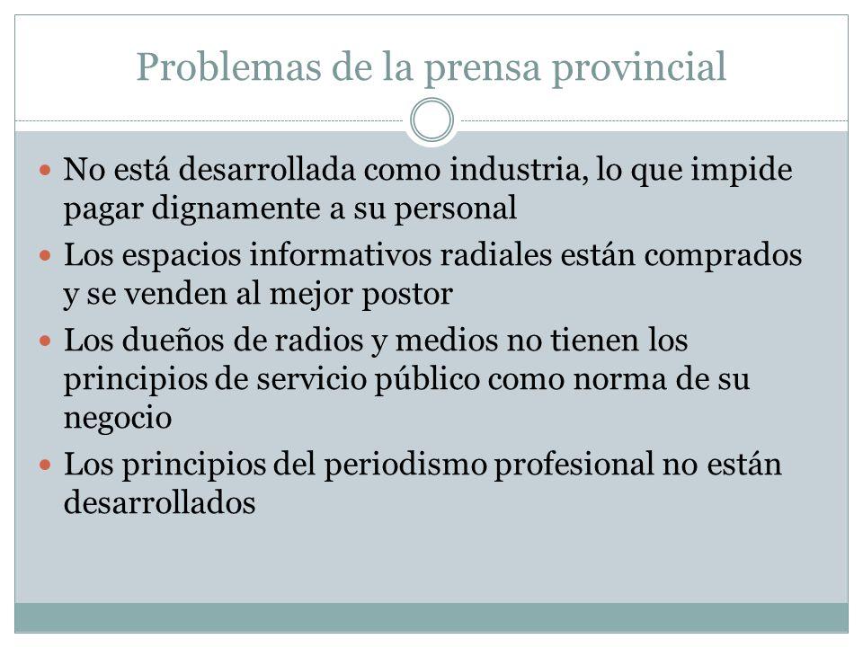 Problemas de la prensa provincial