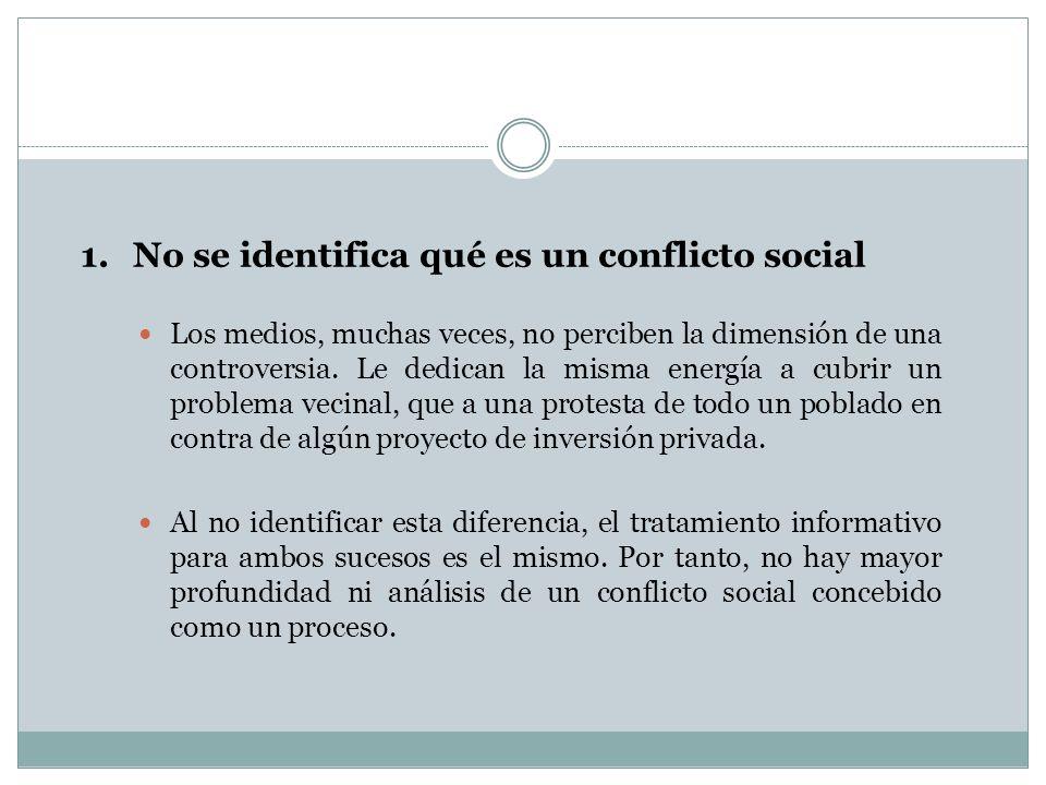 No se identifica qué es un conflicto social