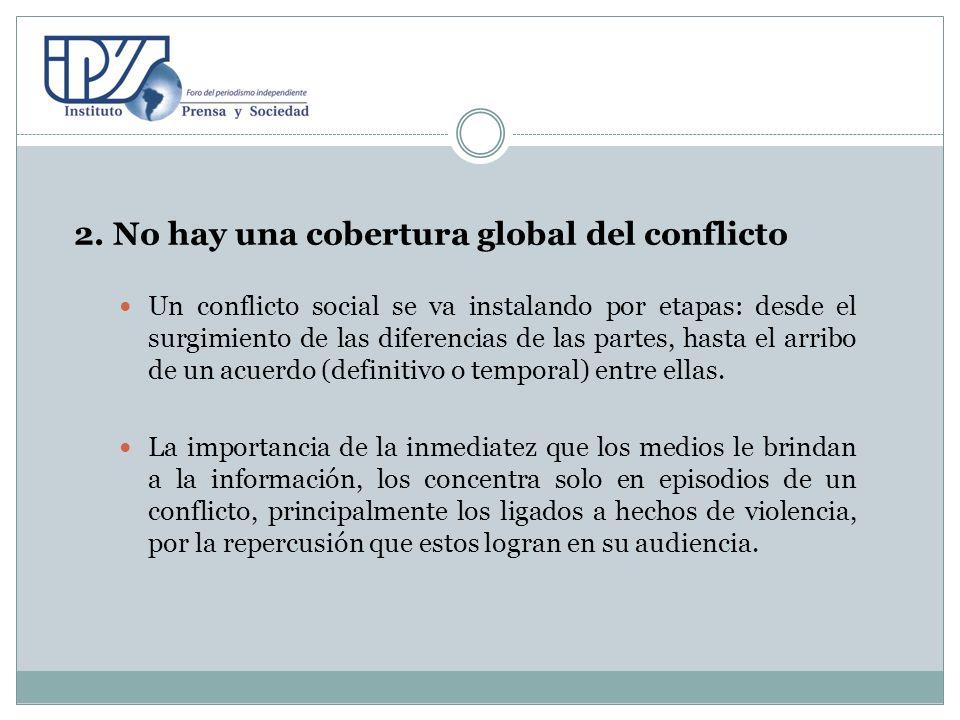 2. No hay una cobertura global del conflicto