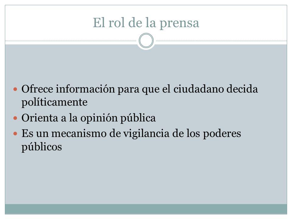 El rol de la prensa Ofrece información para que el ciudadano decida políticamente. Orienta a la opinión pública.
