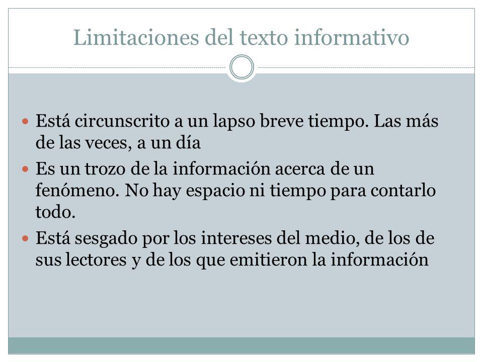 Limitaciones del texto informativo