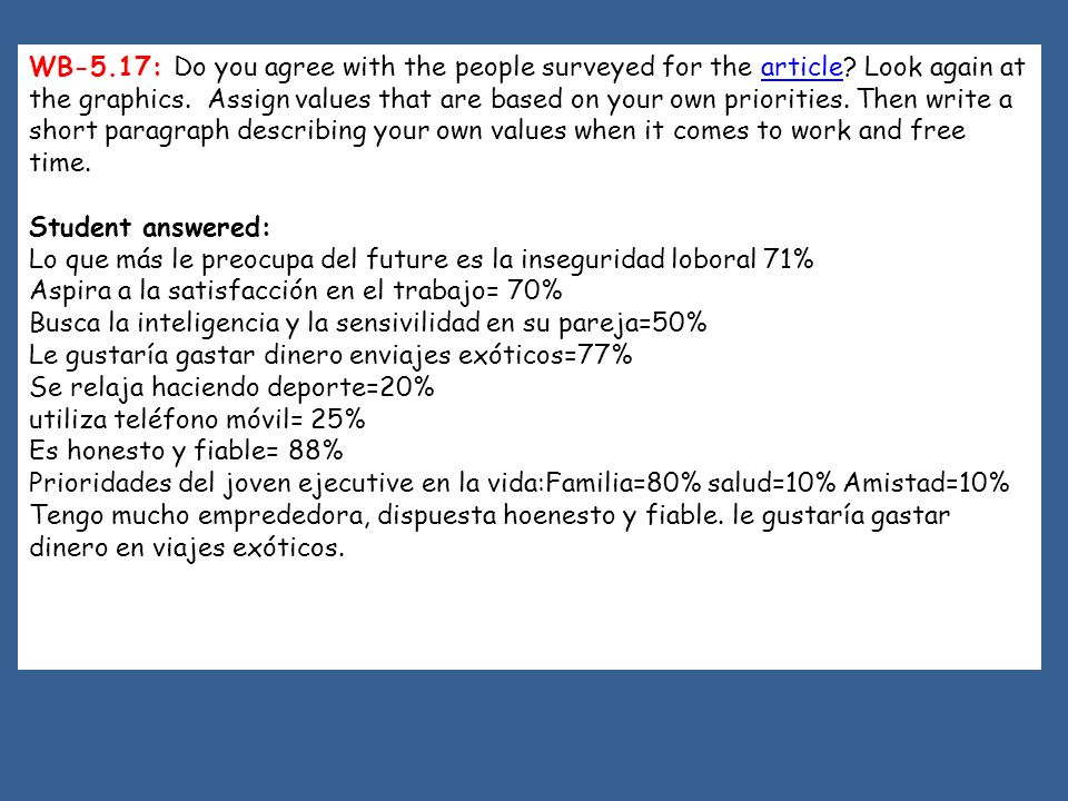 WB-5. 17: Do you agree with the people surveyed for the article