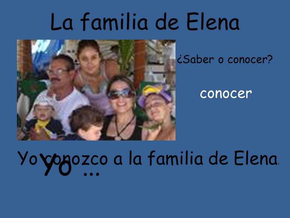 Yo … La familia de Elena Yo conozco a la familia de Elena. conocer