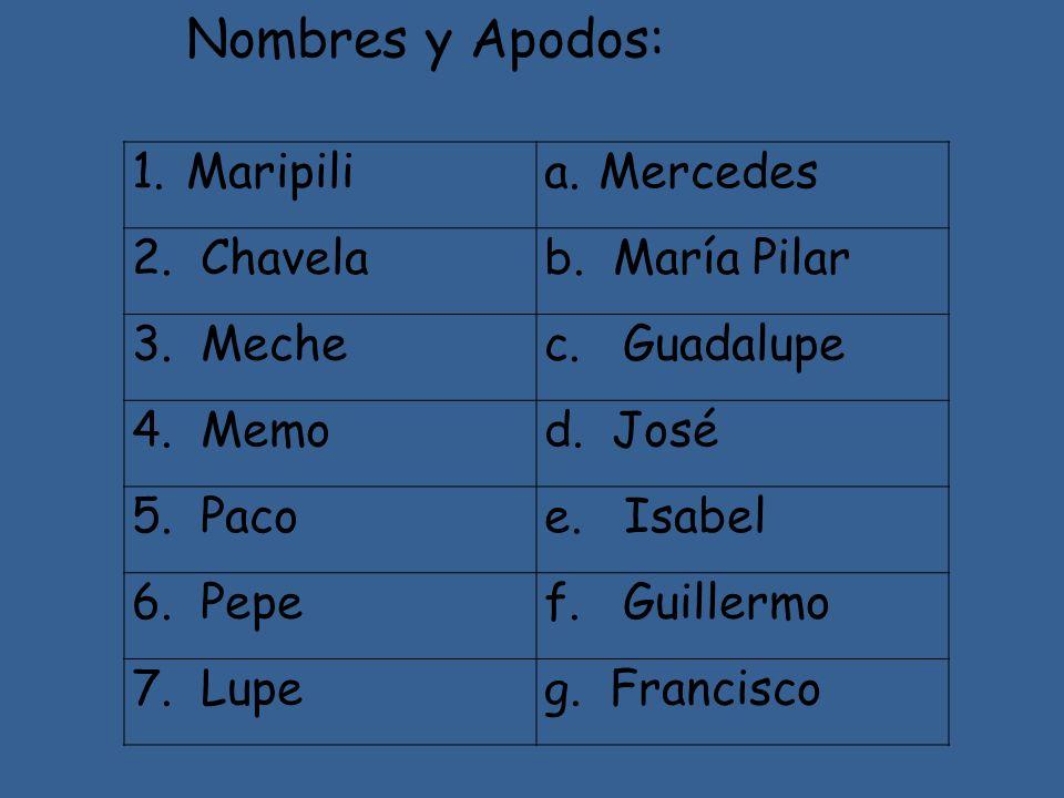 Nombres y Apodos: Maripili Mercedes 2. Chavela b. María Pilar 3. Meche
