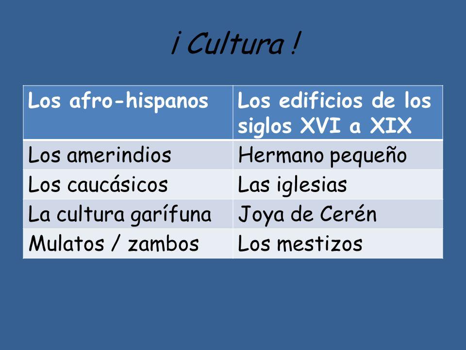 ¡ Cultura ! Los afro-hispanos Los edificios de los siglos XVI a XIX