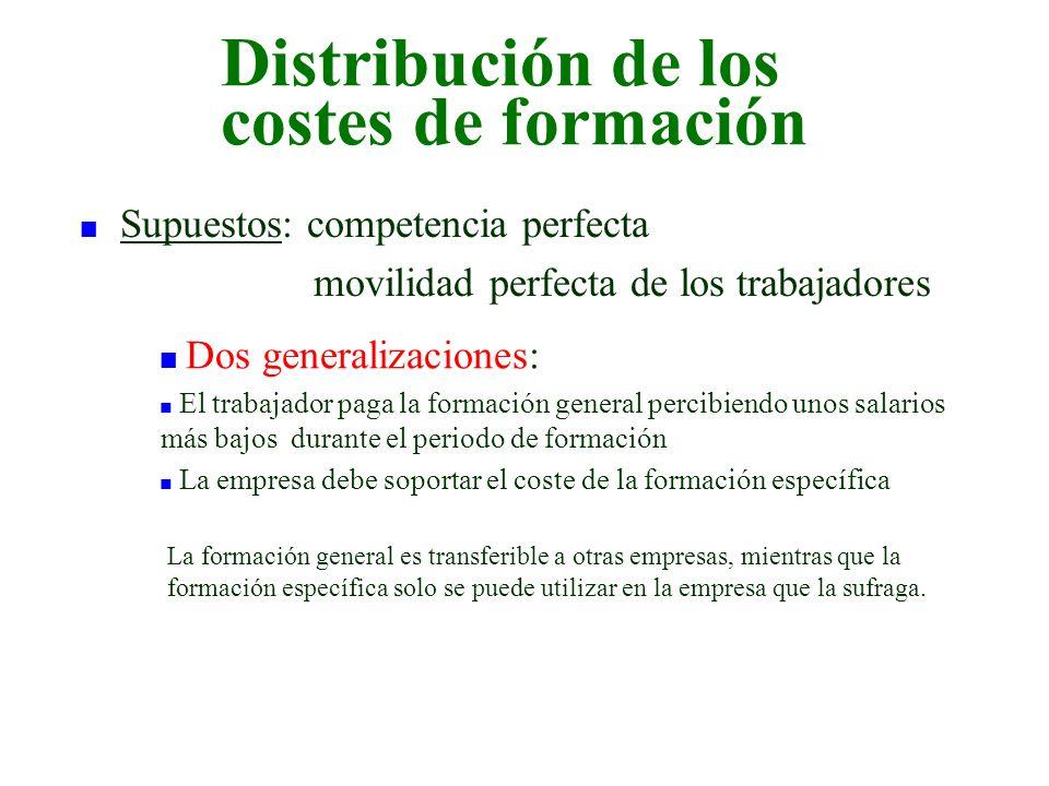 Distribución de los costes de formación