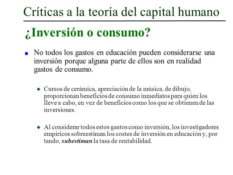 Críticas a la teoría del capital humano