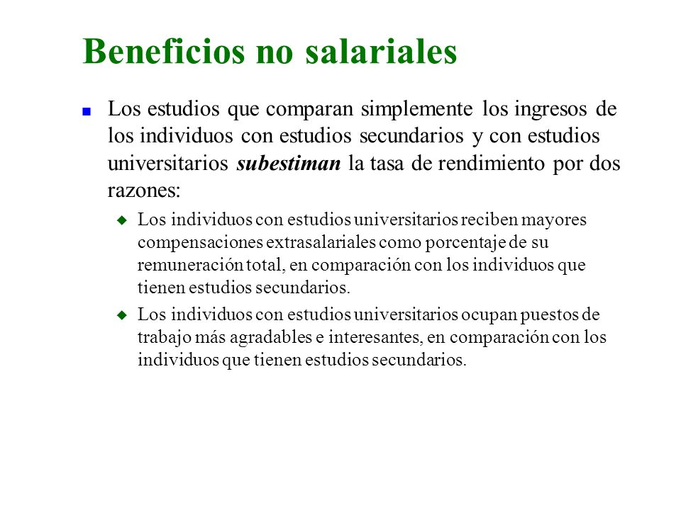 Beneficios no salariales