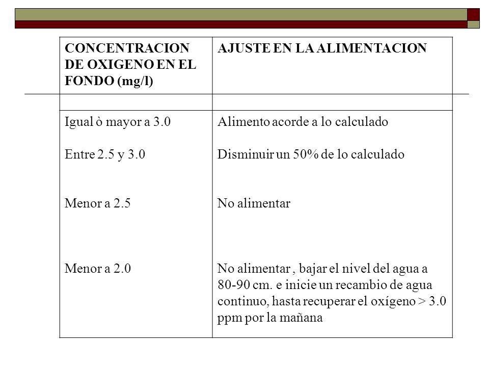 CONCENTRACION DE OXIGENO EN EL FONDO (mg/l)