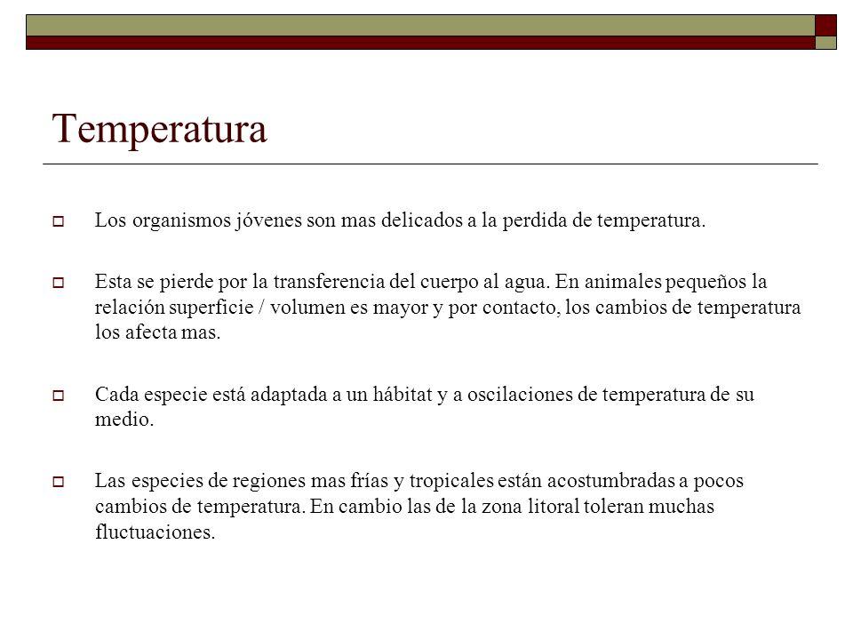 Temperatura Los organismos jóvenes son mas delicados a la perdida de temperatura.