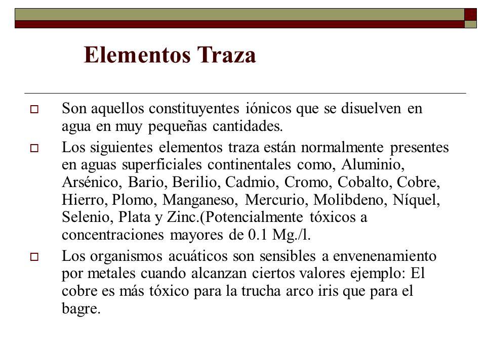 Elementos Traza Son aquellos constituyentes iónicos que se disuelven en agua en muy pequeñas cantidades.