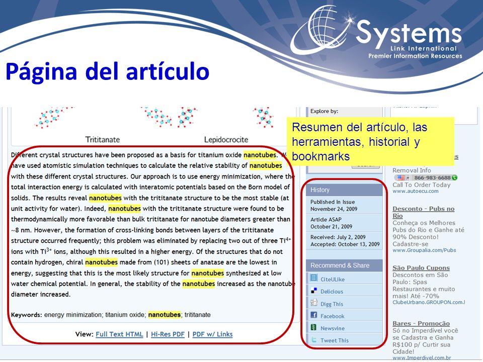 Página del artículo Resumen del artículo, las herramientas, historial y bookmarks