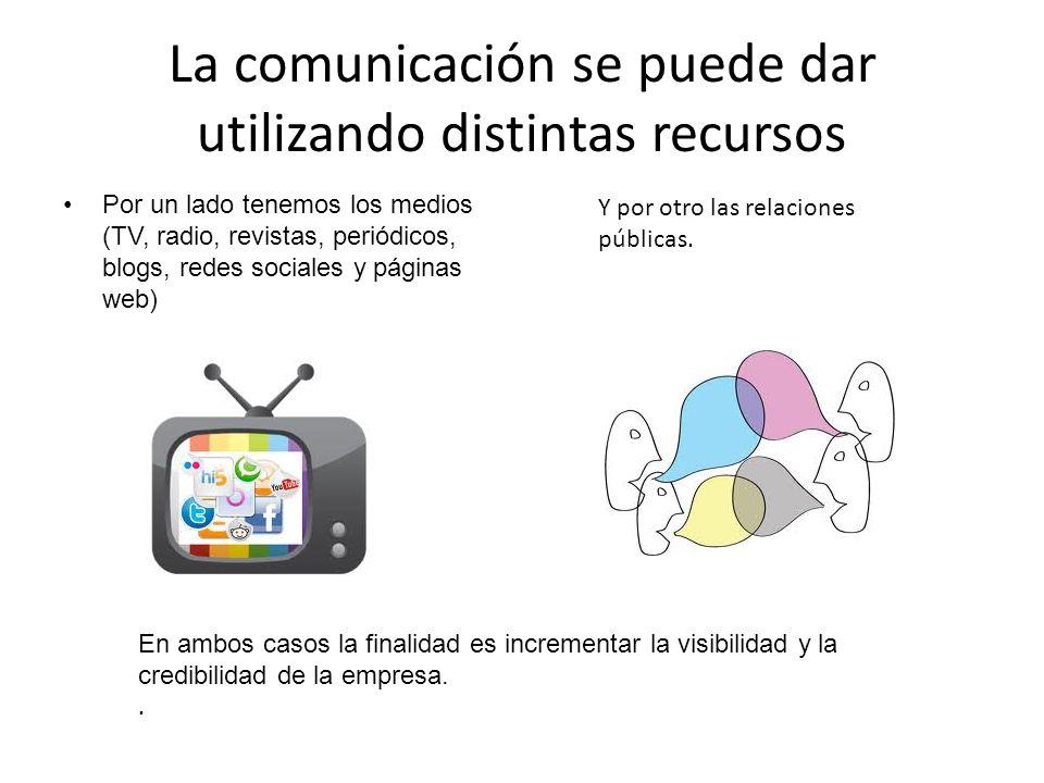 La comunicación se puede dar utilizando distintas recursos