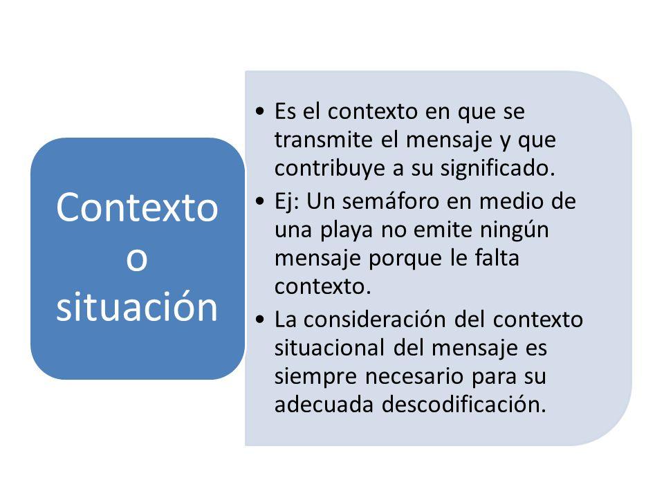 Contexto o situación Es el contexto en que se transmite el mensaje y que contribuye a su significado.