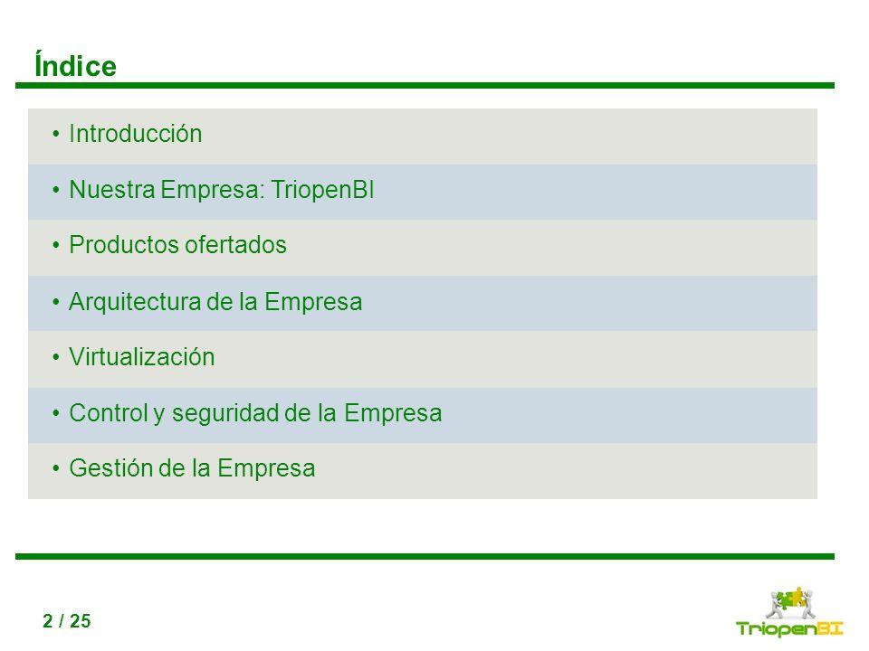 Índice Introducción Nuestra Empresa: TriopenBI Productos ofertados