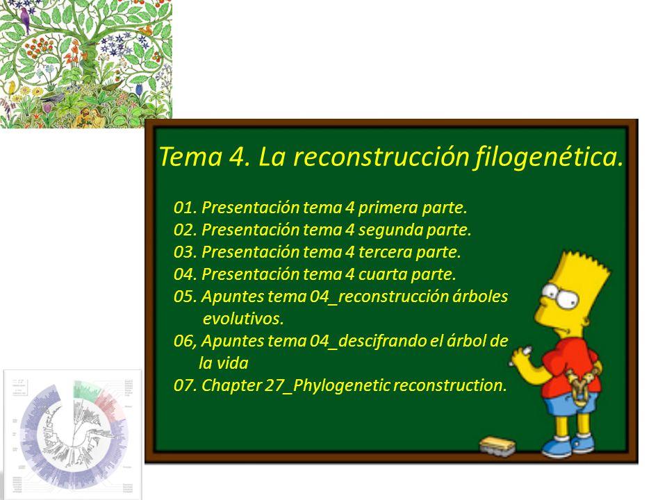 Tema 4. La reconstrucción filogenética.