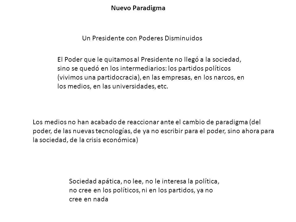 Nuevo Paradigma Un Presidente con Poderes Disminuidos.