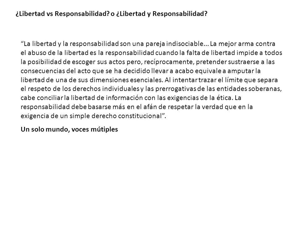 ¿Libertad vs Responsabilidad o ¿Libertad y Responsabilidad
