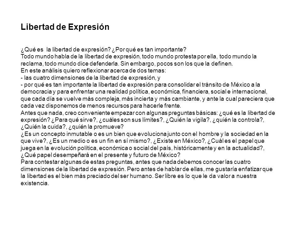 Libertad de Expresión ¿Qué es la libertad de expresión ¿Por qué es tan importante