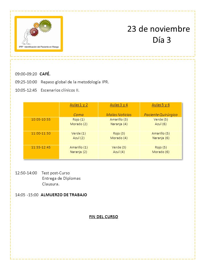 23 de noviembre Día 3 09:00-09:20 CAFÉ.