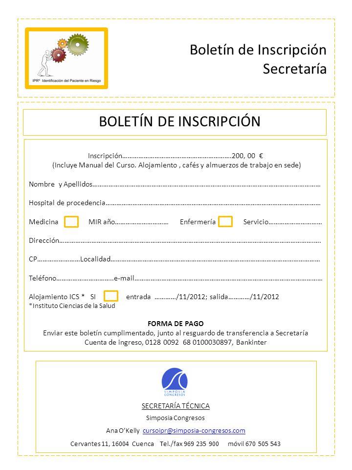 Boletín de Inscripción Secretaría