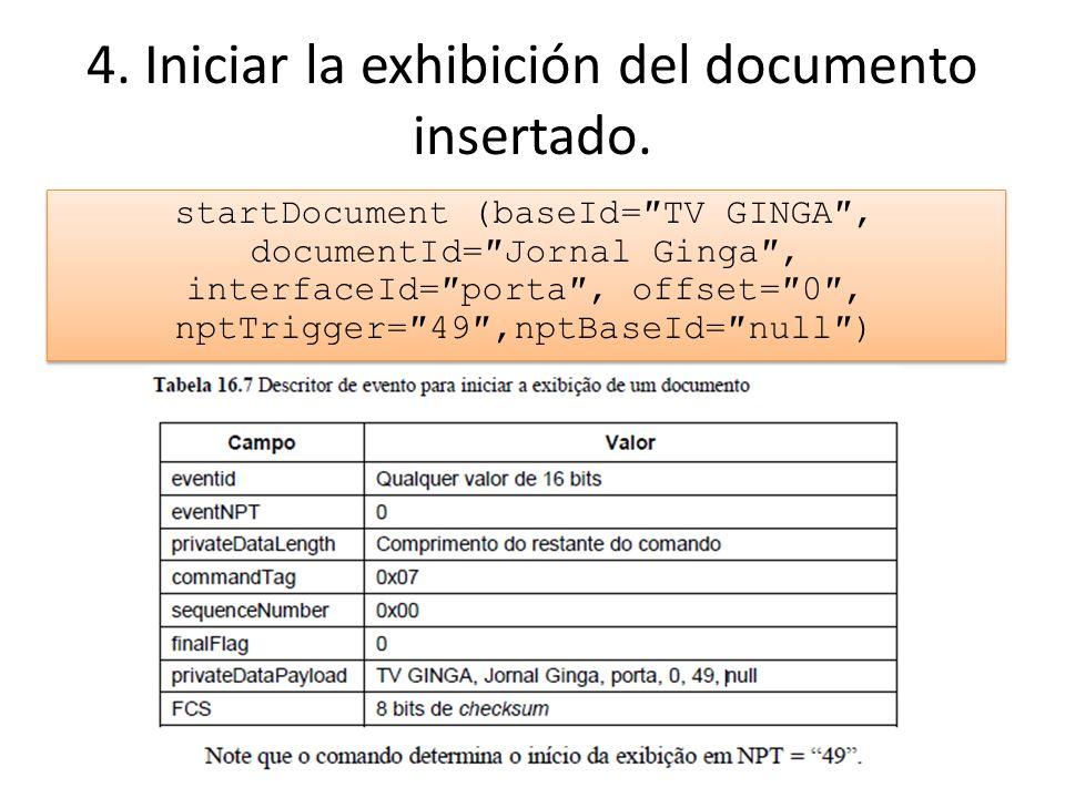 4. Iniciar la exhibición del documento insertado.