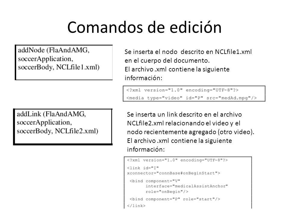 Comandos de edición Se inserta el nodo descrito en NCLfile1.xml en el cuerpo del documento. El archivo .xml contiene la siguiente información: