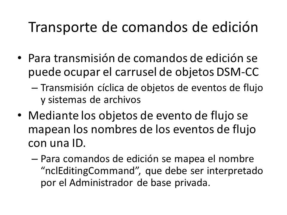 Transporte de comandos de edición