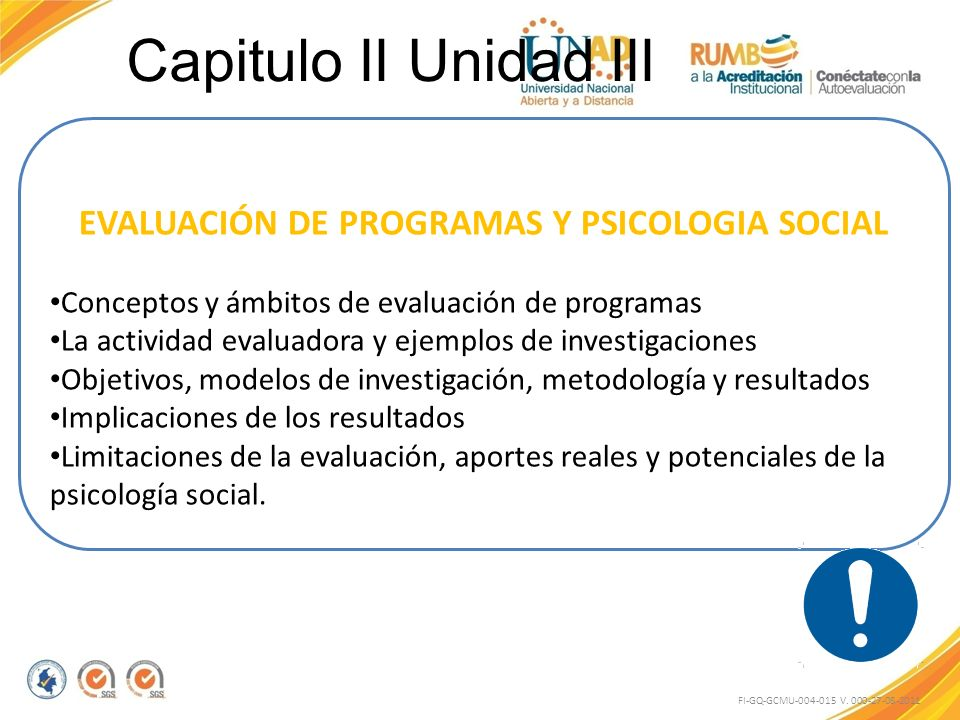EVALUACIÓN DE PROGRAMAS Y PSICOLOGIA SOCIAL