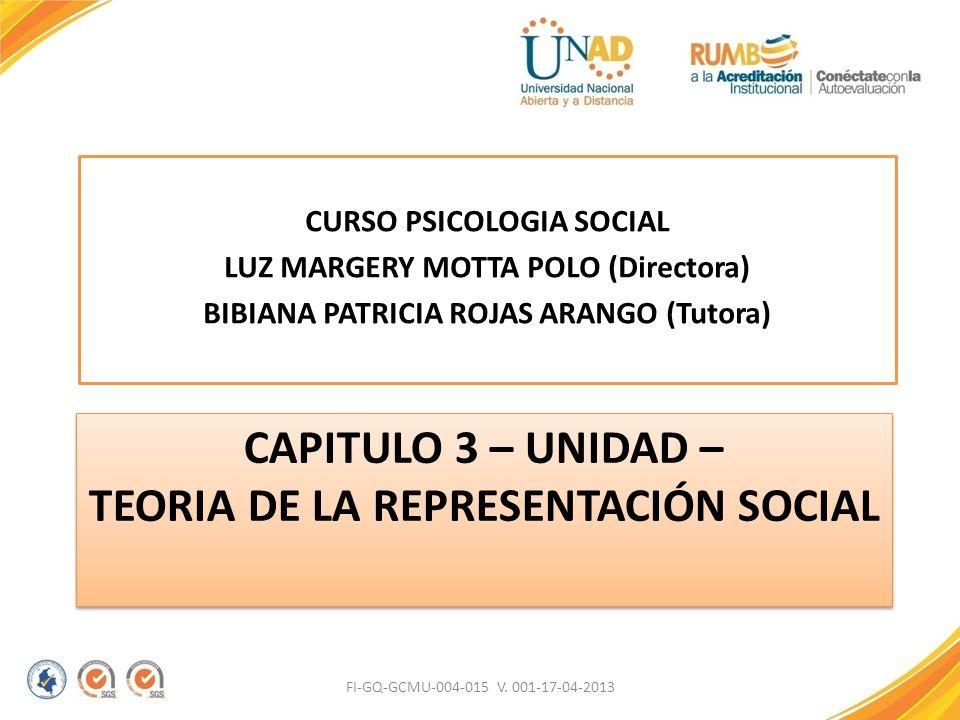 CAPITULO 3 – UNIDAD – TEORIA DE LA REPRESENTACIÓN SOCIAL