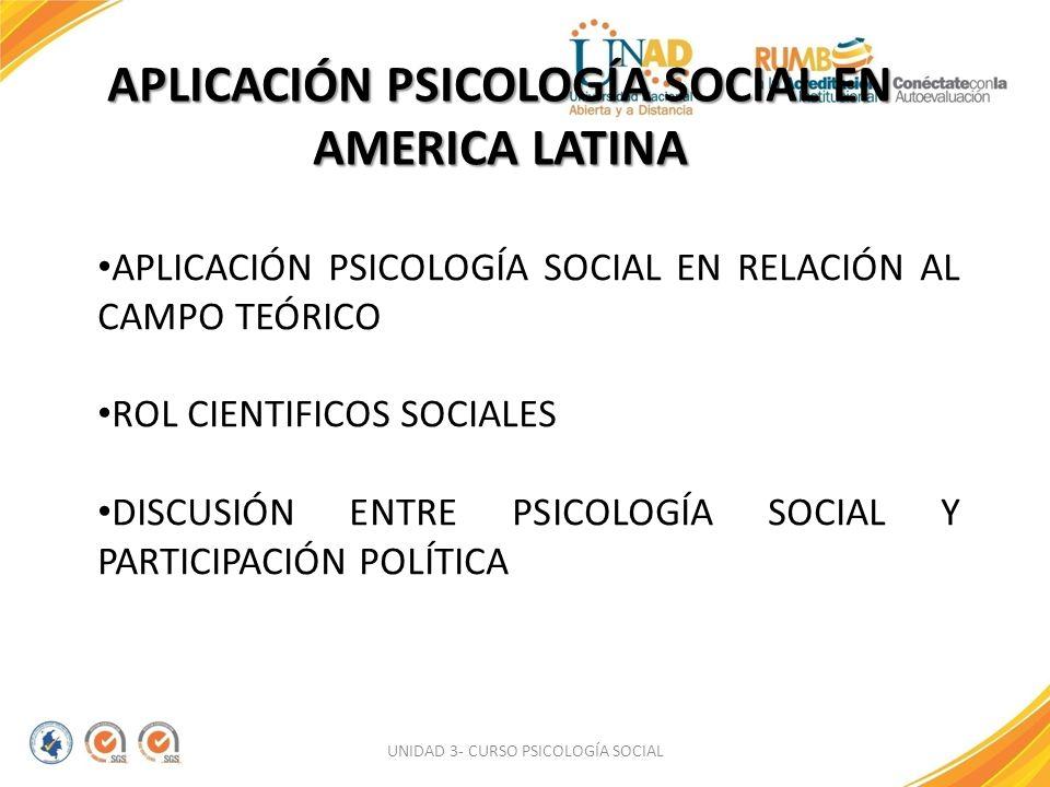 APLICACIÓN PSICOLOGÍA SOCIAL EN AMERICA LATINA