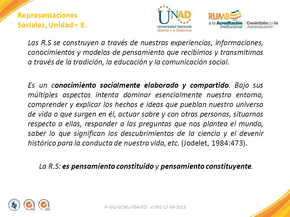 Representaciones Sociales, Unidad – 3.