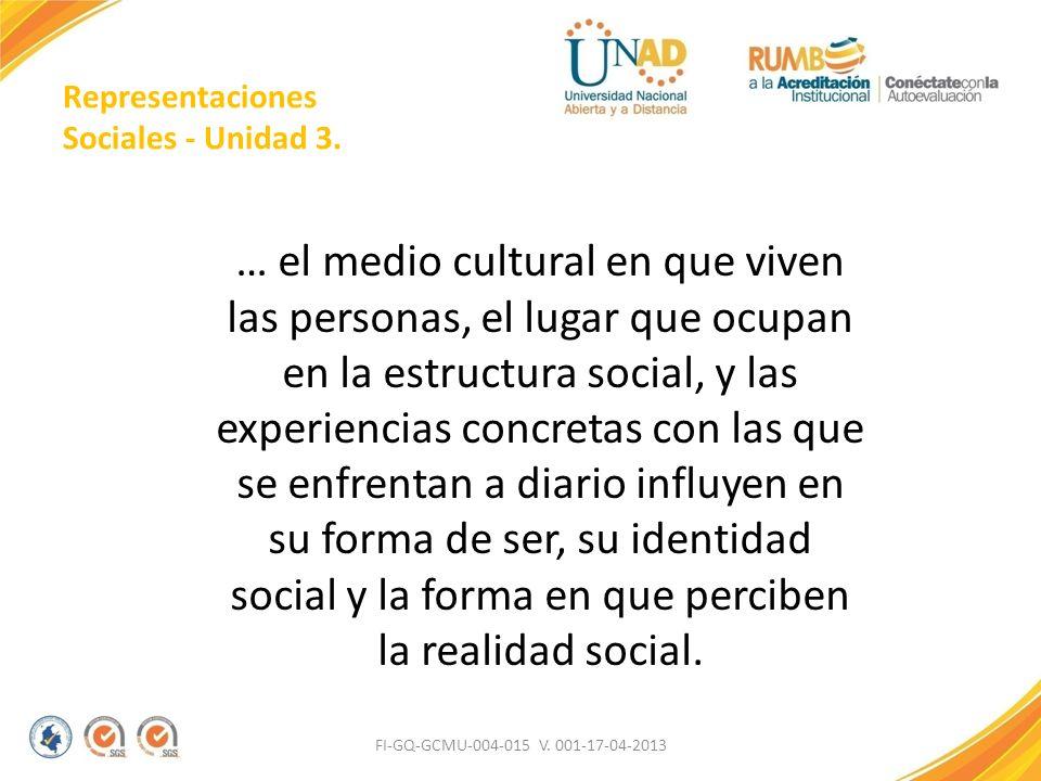 Representaciones Sociales - Unidad 3.