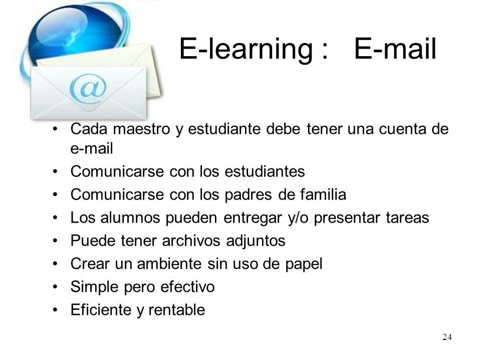 E-learning : E-mail Cada maestro y estudiante debe tener una cuenta de e-mail. Comunicarse con los estudiantes.