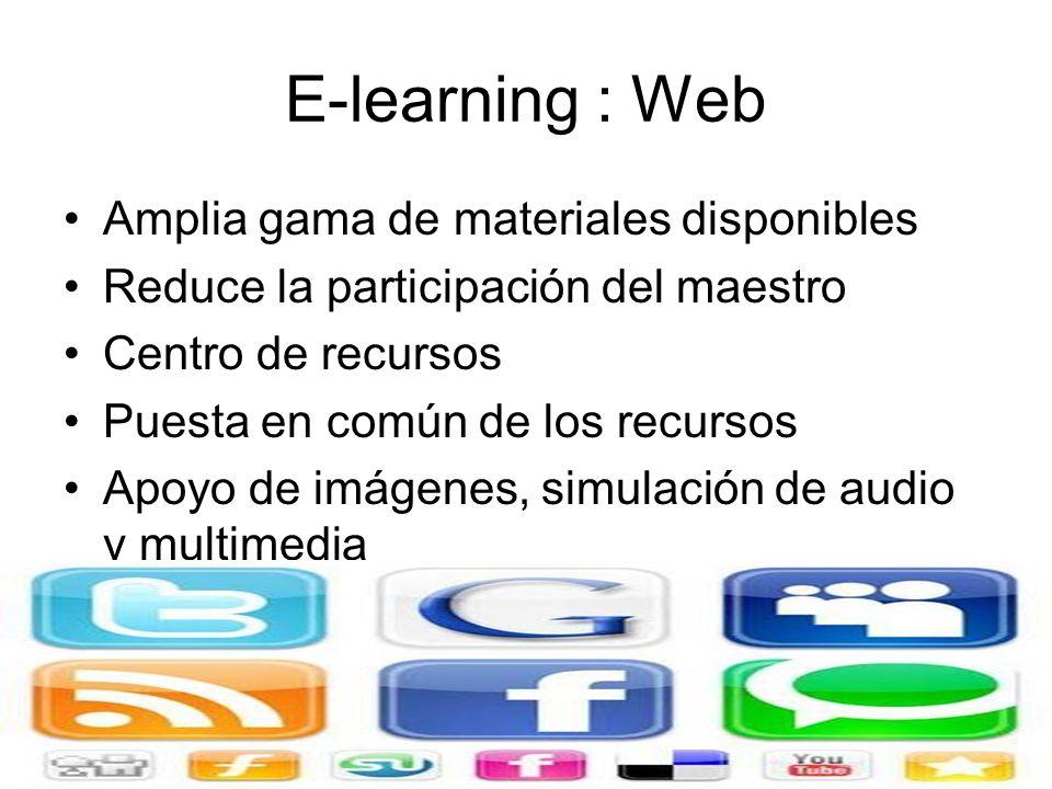 E-learning : Web Amplia gama de materiales disponibles